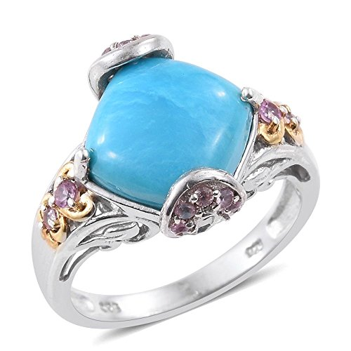 Cabochon 14k Yellow Gold Ring (Sleeping Beauty Turquoise, Pink Sapphire 14K Yellow Gold and Platinum Plated Silver Ring Size 6)