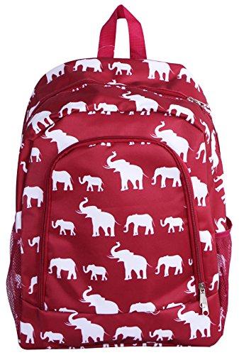 (Burgundy Elephant Pattern School Backpack Book bags College Bags Travel Shoulder Bag for Girls Children and Teens (NBN-E-WB-1) )