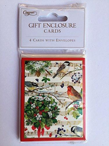 [해외]Caspari에서 크리스마스 선물 꼬리표는 크리스마스 선물을위한 꼬리표 그리고 봉투 세트를 포함한다 - 노래 새와 녹색 화환을 가진 겨울 노래 디자인 - 3.5 x 2.5 In/Christmas Gift Tags Fr