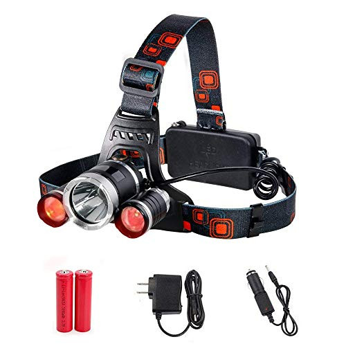 Maketheone Bright Headlamp USB Rechargeble LED Headlight Hands-free Flashlight, Waterproof Head Lamps Torch for Camping Fishing Hiking Night Activities (Red Lighting Set w' US Charger)