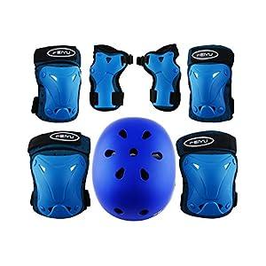 Weanas Kids Youth Adjustable Sports Protective Gear Set, Safety Pad Safeguard (Helmet Knee Elbow Wrist Pads) (Blue Helmet Set XXS, 30-60 pounds kids)