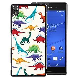 A-type Arte & diseño plástico duro Fundas Cover Cubre Hard Case Cover para Sony Xperia Z3 (Dinosaur Pattern White Saurus Kids)