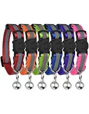 Upgraded Version - Reflective Cat Collar with Bell, Set of 6, Solid & Safe Collars for Cats, Nylon, Kitty Collars, Pet Collar, Breakaway Cat Collar, Free Replacement (6-Pack)