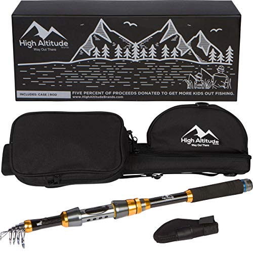 High Altitude Lightweight 6 Foot Telescopic Fishing Pole and Backpacking Case, Rod Combo, Highly Portable Hiking or Travel Gear, Collapsible Poles (Backpacker Fishing Rod And Reel)