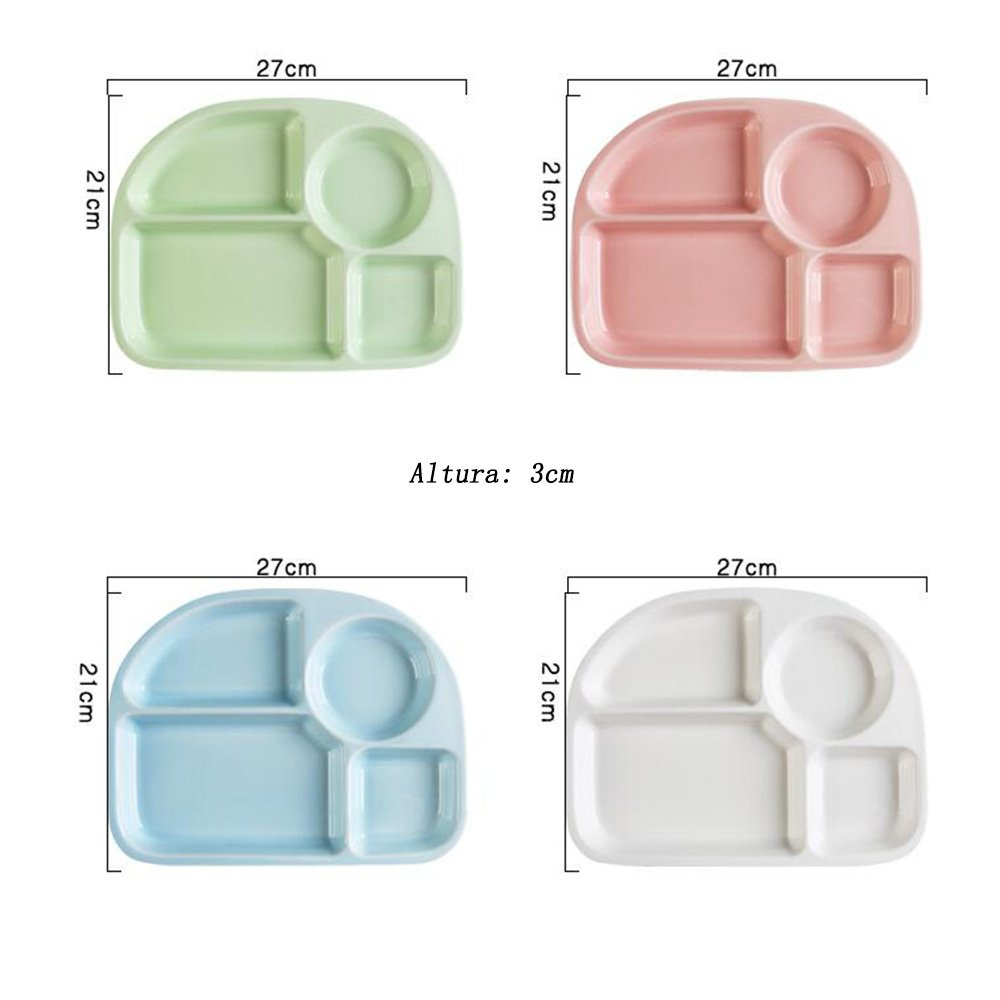 guodongdong Tableware Ceramic Creative Children's Snack Tray Separated Dining Tray Adult Separated Dishes Home Duoge,Blue by guodongdong (Image #2)