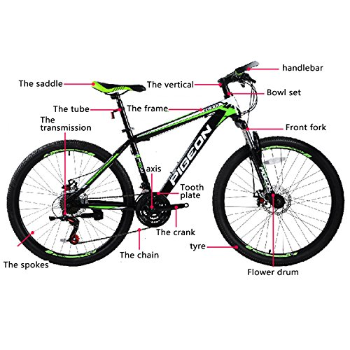 Best of Flying Pigeon 26″ Aluminum Mountain Bike MTB 700C 21 Speed Shimano with Double Disc Brakes (Green)