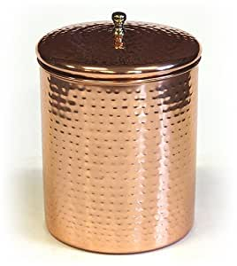 Pure Copper Kitchen Storage Contaniers/ Decor Canister Hammered Style Dia-10 Cm,Height- 9 Cms With Lid