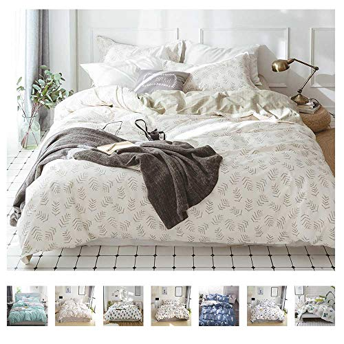 VClife 100% Cotton Bedding Sets Botanical Print Duvet Cover, Chic Checkered Pattern, Queen