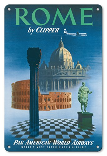 Pacifica Island Art 8in x 12in Vintage Tin Sign - Rome, Italy by Clipper - St Peter's Cathedral Tiberius - Pan American World Airways ()