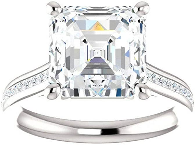 Asscher Cut Diamond Ring Halo Engagement Ring For Women Round White Yellow Diamond Ring  Anniversary Diamond Ring Baguette Diamond Ring