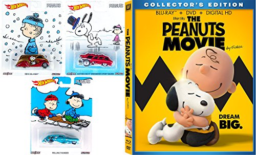 The Peanuts Movie - Blu Ray DVD Peanuts Hot Wheels Charlie Brown Christmas Set Collectible Pop Culture Cars / Lucy / Linus Holiday Cartoon Series Movie Combo Family Bundle Snoopy & Gang kid fun set