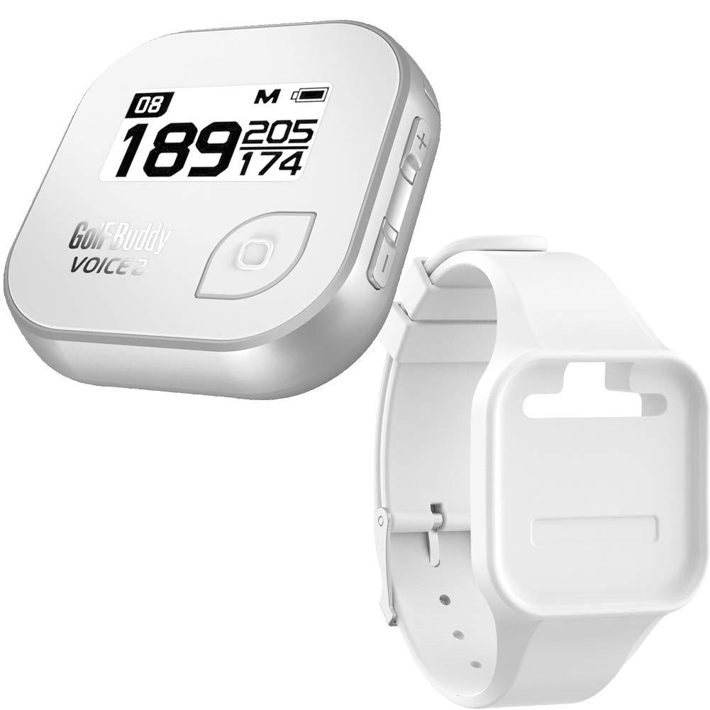 Golf Buddy Bundle Voice 2 Golfbuddy Voice2 Easy-to-Use Talking GPS (White/Silver) + Silicon Wristband (White)