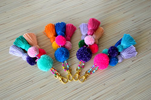 keychain charm Tassel Handbag Pompom