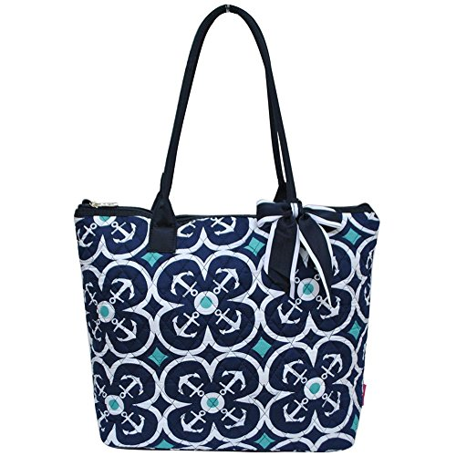 Ngil Quilted Cotton Medium Tote Bag 3 (Flower Anchor Navy Blue)