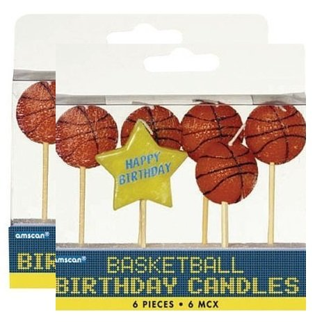 Amscan Basketball Dream Birthday Party Cake Topper Candle Set (Value Pack: 12 Count)
