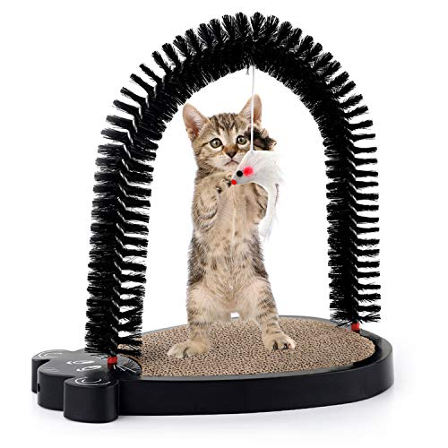 3 In 1 Cute Mouse Cat Toys - Chengyu PET Self-grooming Bristles With Hanging Sound White Mouse And Corrugated Paper Pad For Cat Scratching,Suit For Small Kittens Or Juvenal Kitties by ChengyuPet