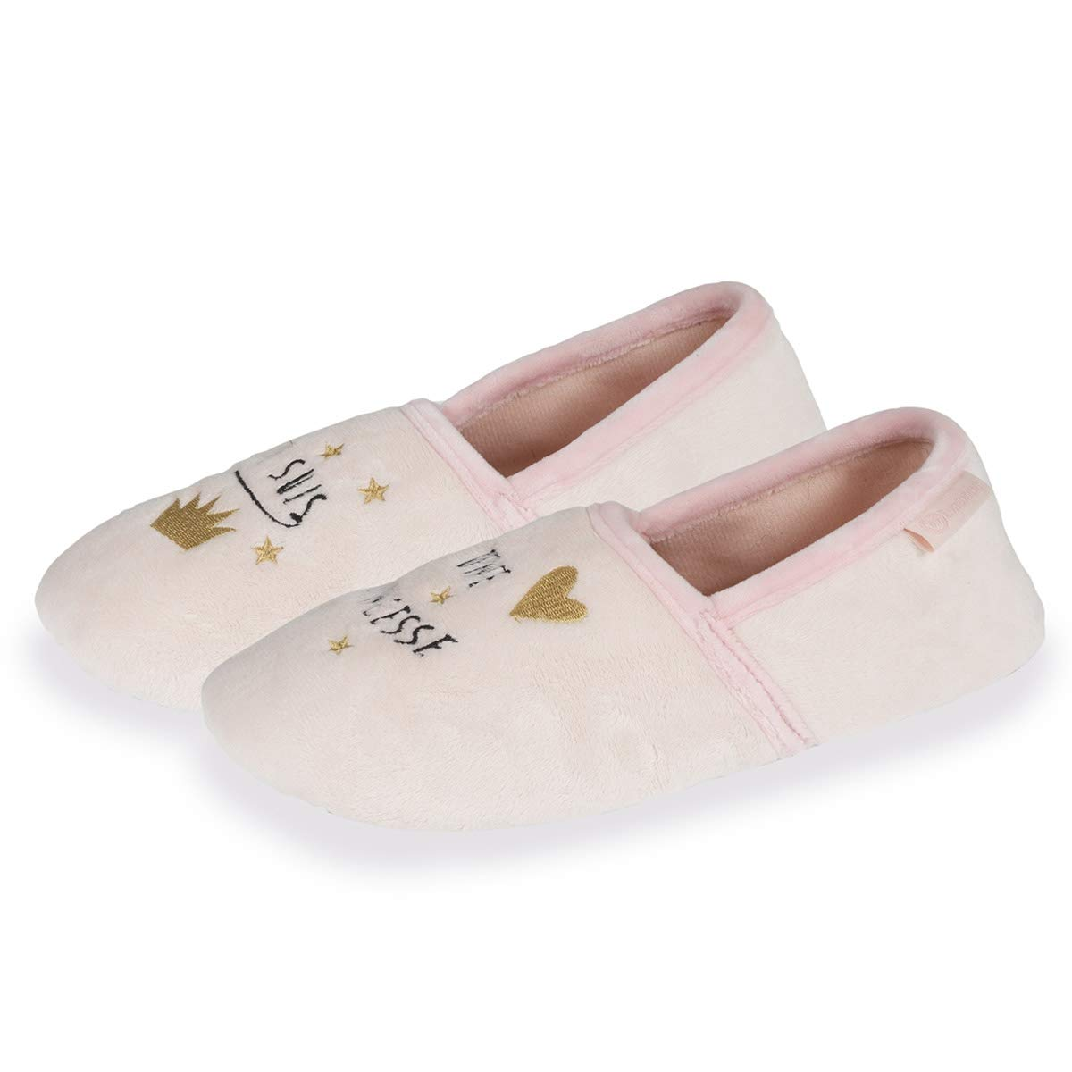 Isotoner Chaussons Slippers Femmes Broderie Princesse