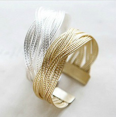 Price comparison product image Bosun(TM) Alloy knitted twisted metal rattan Women wide bracelet jewelry