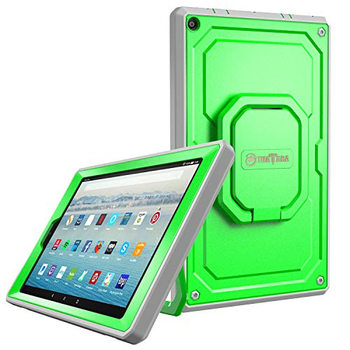 Fintie Case for All-New Amazon Fire HD 10 Tablet (7th Gen 2017) - [Tuatara Magic Ring] [360 Rotating] Multi-Functional Grip Stand Shockproof Protective Carry Cover w/Built-in Screen Protector, Green (Lime Kindle Fire Case)