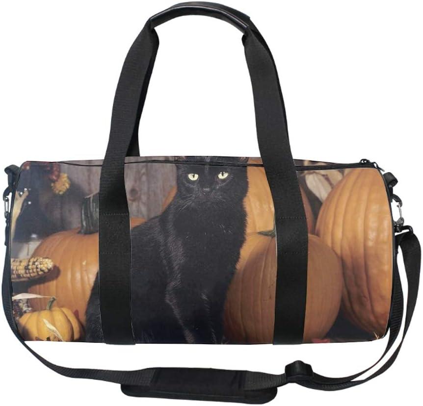 Round Scary Black Cat Gym Duffle Bag Drum tote Fitness Shoulder Handbag Messenger Bags