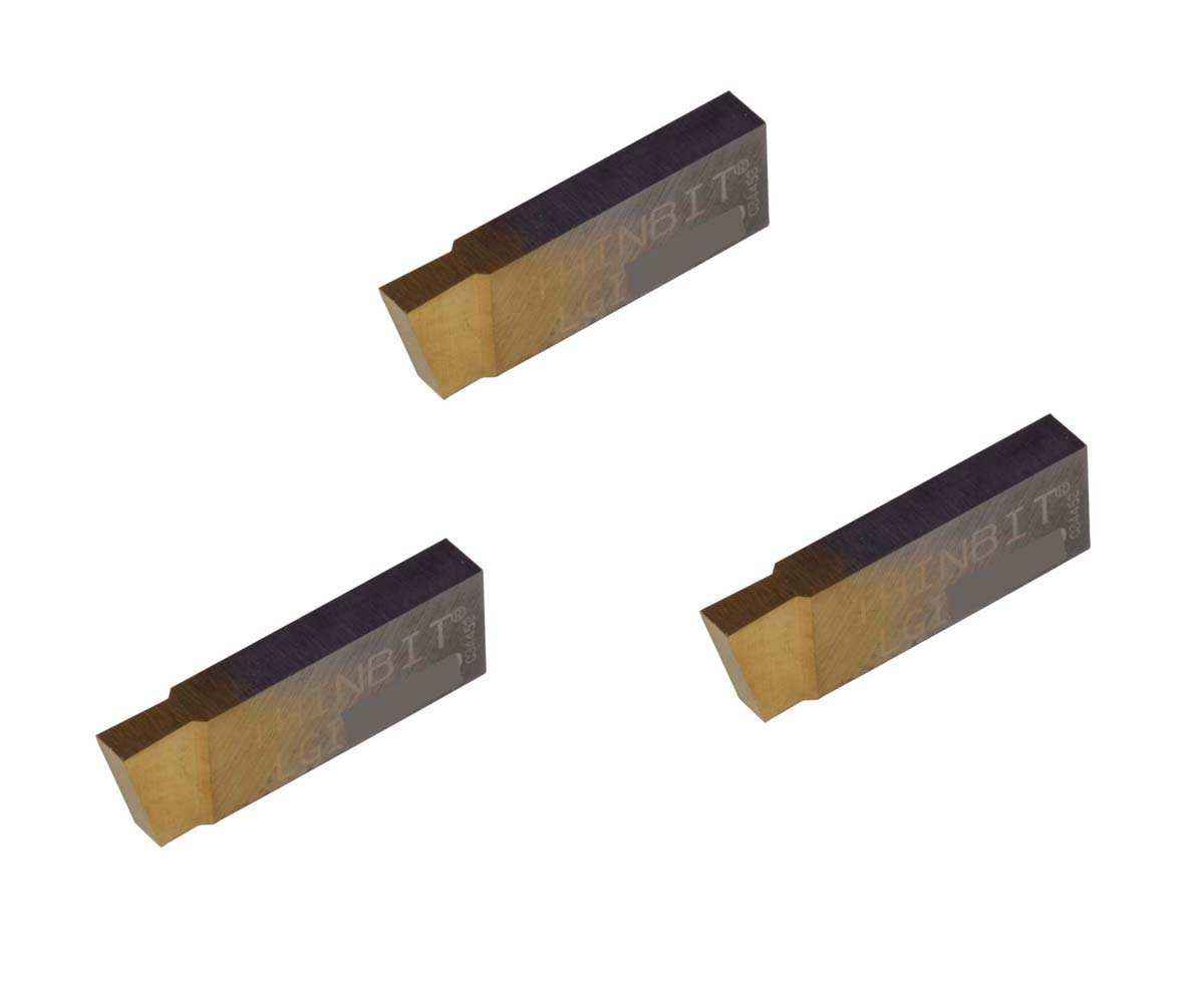 THINBIT 3 Pack LGI094D2CR010E 0.094 Width 0.141 Depth Grooving Insert for Steel TiAlN Coated Carbide Nickel Alloys and Stainless Steel with Interrupted Cuts Titanium Corner Radius 0.010