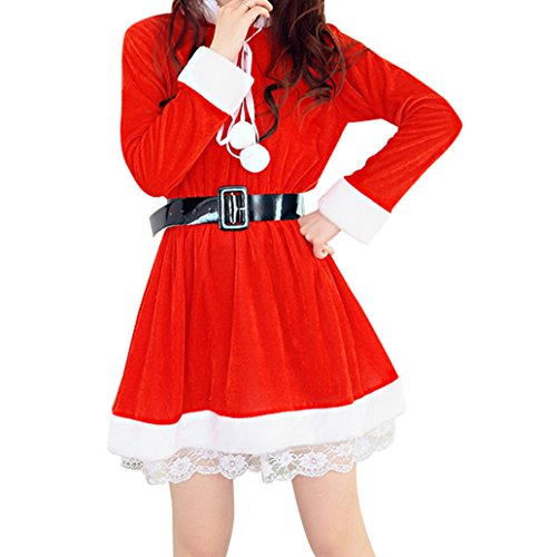 [YeeATZ Red Cat Girl Christmas Uniform Costume Dress] (Homemade Reindeer Costumes For Kids)