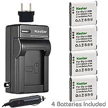 Kastar 4X Battery + Charger for Olympus LI-50B LI-50C & XZ-1 SZ-30MR SZ-10 SZ-11 SZ-20 SP800UZ Stylus Tough-6020 Tough-8010 Tough-6000 Tough-8000 Tough TG-810 1030 SW TG-610 SZ10 Tough 8000 TG810