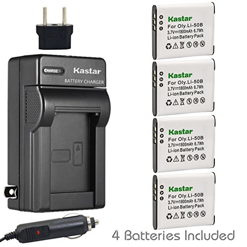 Kastar 4X Battery + Charger for Olympus LI-50B LI-50C & XZ-1 SZ-30MR SZ-10 SZ-11 SZ-20 SP800UZ Stylus Tough-6020 Tough-8010 Tough-6000 Tough-8000 Tough TG-810 1030 SW TG-610 SZ10 Tough 8000 TG810 (Li Charger 50b)