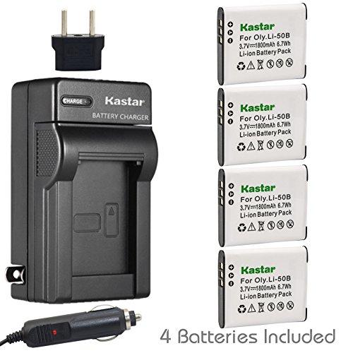 Kastar 4X Battery + Charger for Olympus LI-50B LI-50C & XZ-1 SZ-30MR SZ-10 SZ-11 SZ-20 SP800UZ Stylus Tough-6020 Tough-8010 Tough-6000 Tough-8000 Tough TG-810 1030 SW TG-610 SZ10 Tough 8000 TG810 (50b Charger Li)