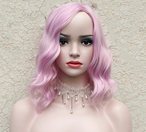 Short Pink Curly Bob Wig Pastel wig Short Bob wig with Fringe14