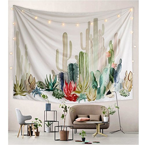 Tmrow 1pc Cactus Tapestry, Wall Hangings Watercolor Printed Nature Large Tablecloths Wall Tapestry 150x200cm by Tmrow