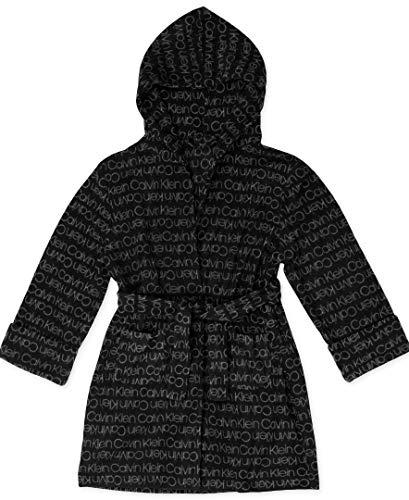 (Calvin Klein Boys' Big Cozy Robe Hood, Black/ck Logo Gray, M)