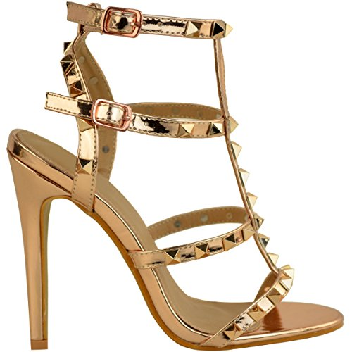 Stud Womens Rose There Gold Size Thirsty Metallic Rock Barely Heel High Sandals Stiletto Party Fashion Shoes qgSBE5xn