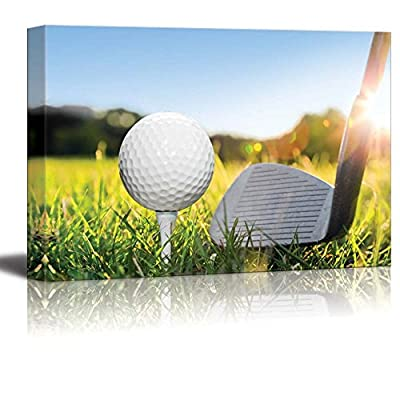 Canvas Prints Wall Art - Golf Ball on White Tee and Golf Club Preparing to Shot. Green Grass Golf Course. Blue Sunny Sky - 24