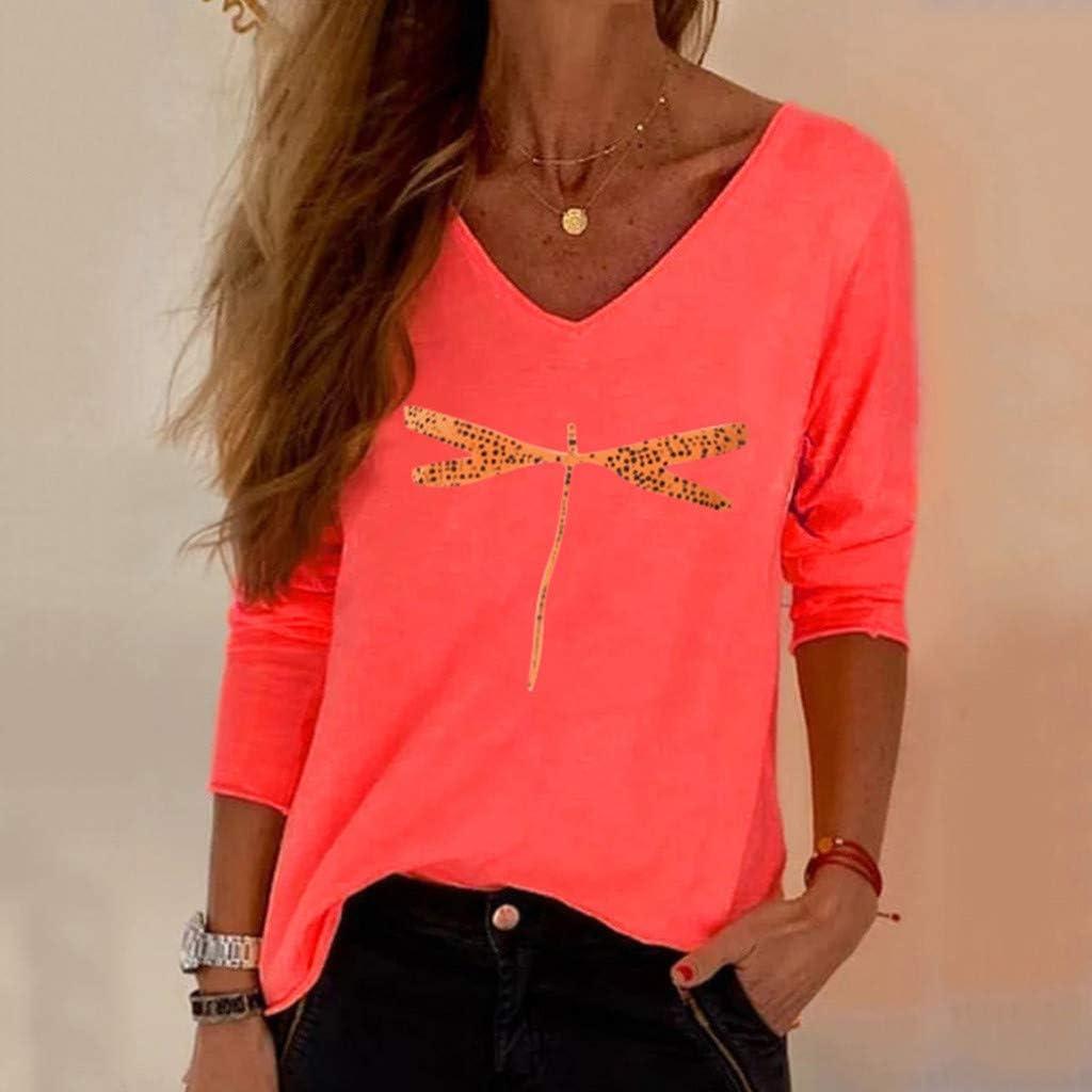 ✿HebeTop✿ Women Dragonfly Print T-Shirt Long Sleeve Summer Loose Tshirt