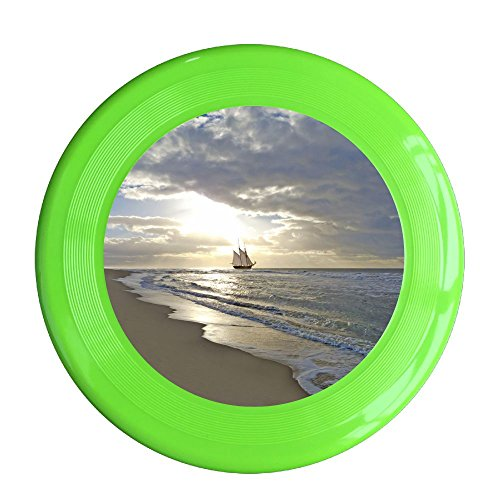 Skkoka Frisbee A Sailing Ship Close To The Beach In Moody Sunset Frisbee Family Fun Group Game Variety Of Colors Durable Frisbee KellyGreen