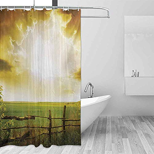 Xlcsomf Home Shower Curtain Country Sunset on The Field at Summer Wooden Hedge Springtime Meadow Morning View Print Private Bathing Experience Green Yellow,W72 xL72