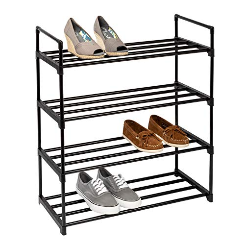 Honey-Can-Do SHO-08489 4-Shelf Black Modular Shoe Rack One Size