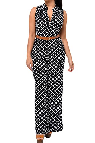Pink Queen Women's Sexy Lattice Printing Long Rompers Jumpsuits L - Suede Pants Black