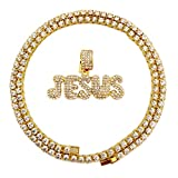HH Bling Empire Hip Hop Iced Out Gold Faux Diamond Bubble Dripping Full Name Letters Tennis Chain 20 Inch (Jesus)