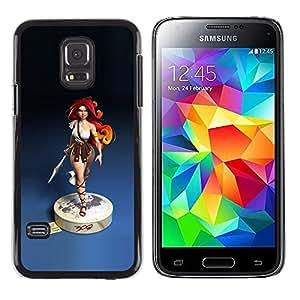 Redhead Girl Blue Estatua guerrero de la mujer- Metal de aluminio y de plástico duro Caja del teléfono - Negro - Samsung Galaxy S5 Mini (Not S5), SM-G800
