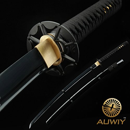 Japanese Katana Sword, Auway Handmade 1060 Carbon Steel Katana Samurai Sword Black Baked Finish Blade with Wooden Scabbard