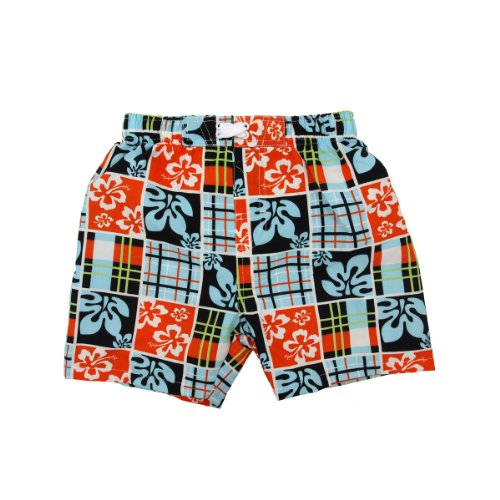 Infant Toddler Boys' Swimwear Floral Checkered Swim Trunks