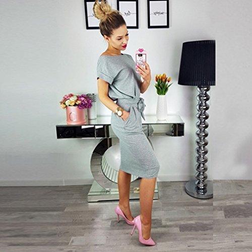 Crayon Élégant Femmes Poperdision Robe Vêtements À Manches Courtes Pour Travailler Robe De Bureau Occasionnel Avec Ceinture # 2 Gris