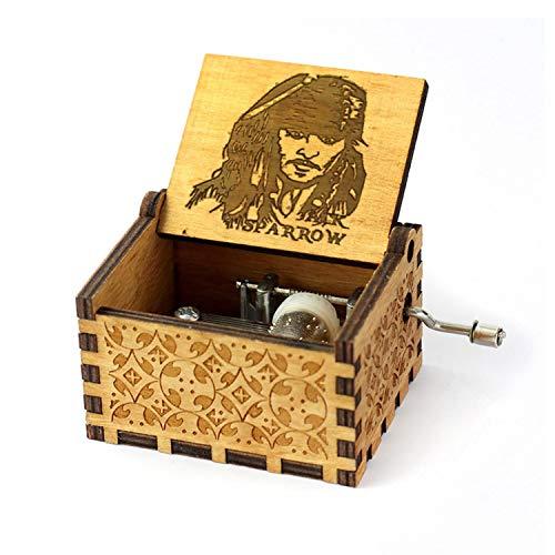 HOSALA Caja de música Personalizable Hecha a Mano de Madera grabada, Jack Sparrow Music Box Caribean spirates, 200