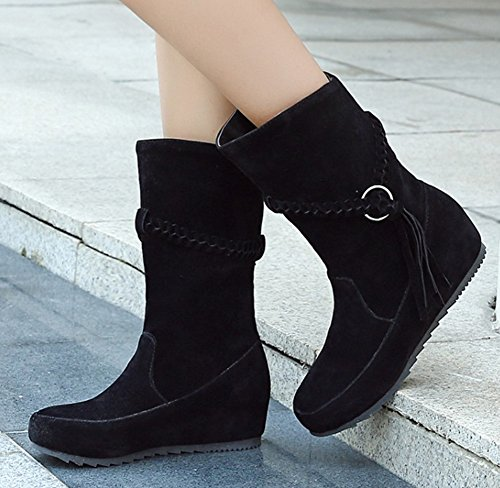 Mid Booties Women's Comfy Top Heels Tassels Round Black Aisun Toe With Heighten 8H16xq