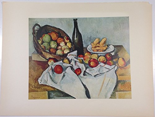 1952 Vintage Full Color Art Plate Still Life w/Basket Apples Cezanne Litho ()