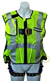 FallTech 7018LXL Hi-Vis Vest Harness, Non-Belted FBH - 3 D-Rings, Back and Side, Tongue Buckle Legs and Mating Buckle Chest, Class 2 Vest, Lime, Large/X-Large, Lime/Blue