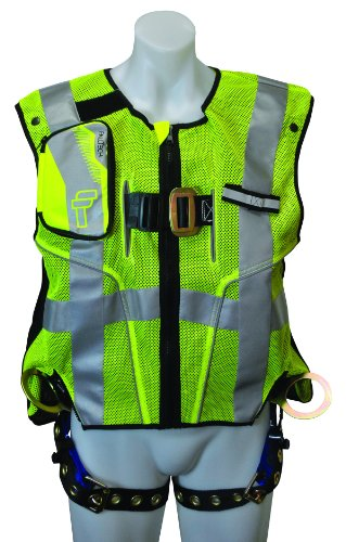 FallTech 7018SML Hi-Vis Vest Harness, Non-Belted FBH - 3 D-Rings, Back and Side, Tongue Buckle Legs and Mating Buckle Chest, Class 2 Vest, Lime, Small/Medium, Lime/Blue -