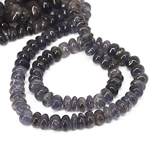 Beads Bazar Natural Beautiful jewellery Natural Water Sapphire Iolite Smooth Gemstone Rondelle Gemstone Loose Craft Beads Strand 16